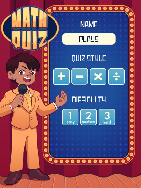 Math Quiz Game Menu Screenshot.