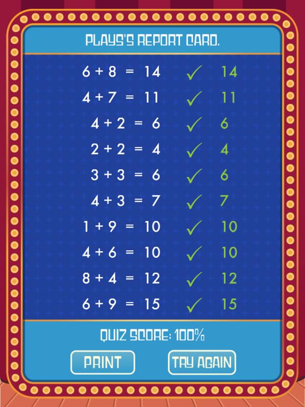 Math Quiz Game Report Card Screenshot.
