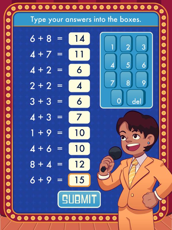 Math Quiz Game Submit Answers Screenshot.