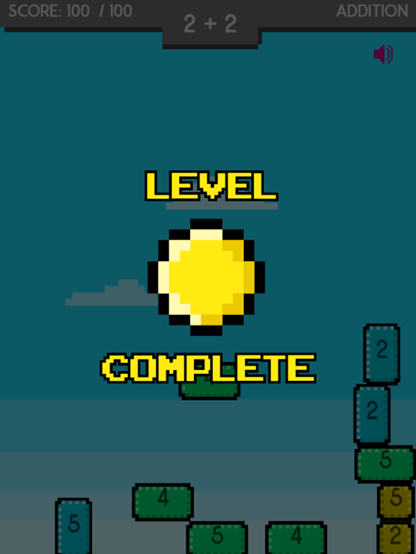 Math Stack Game Level Complete Screenshot.