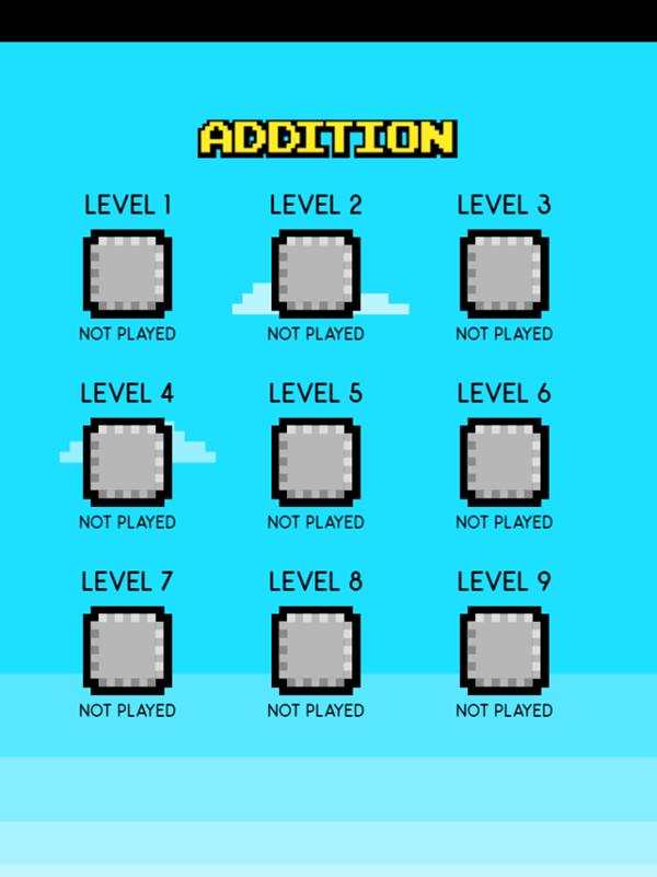 Math Stack Game Level Select Screenshot.