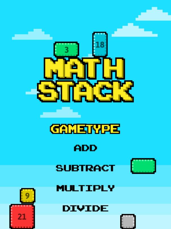 Math Stack Game Welcome Screen Screenshot.