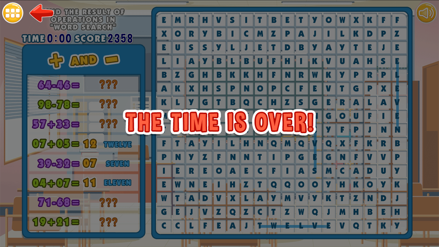 Math Word Search Time Over Screenshots.
