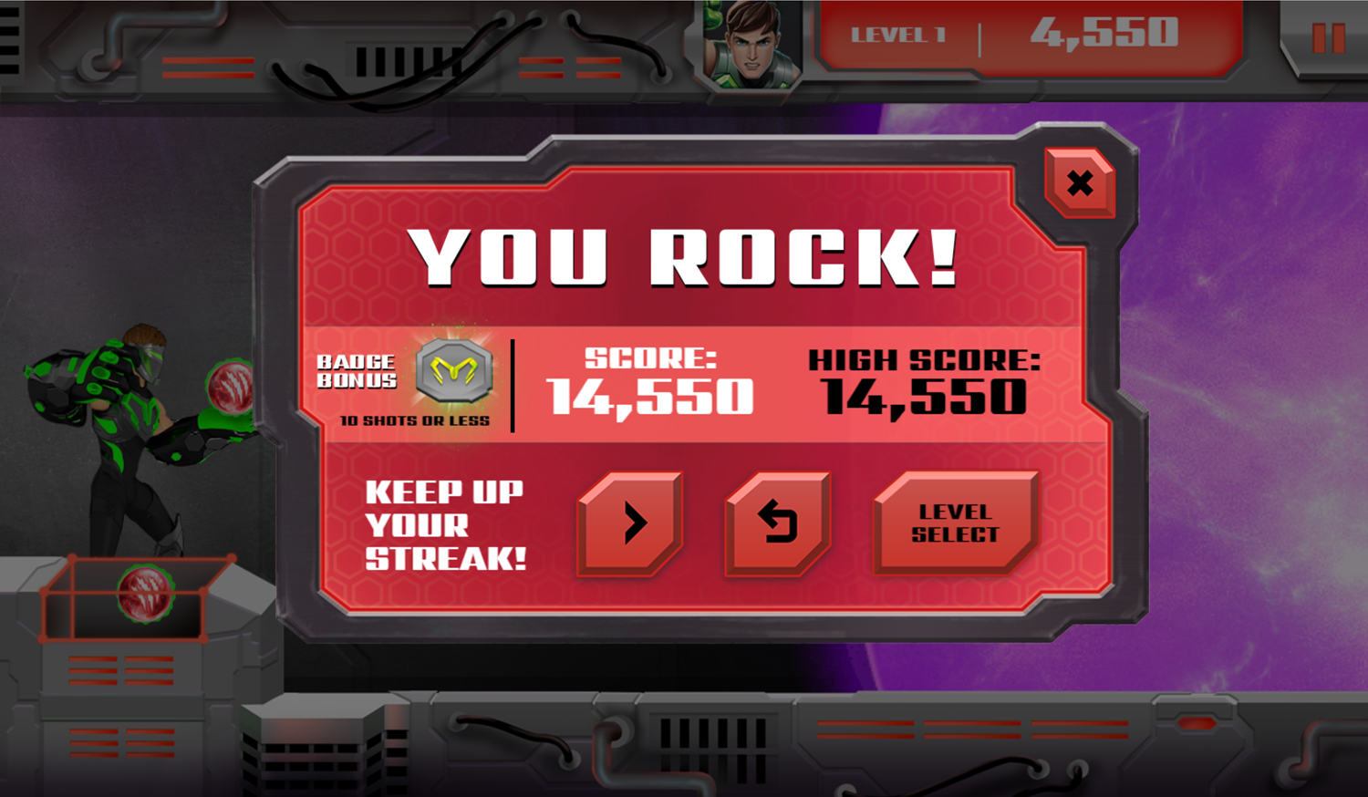 Max Steel Match and Destroy Game Level Beat Screen Screenshot.