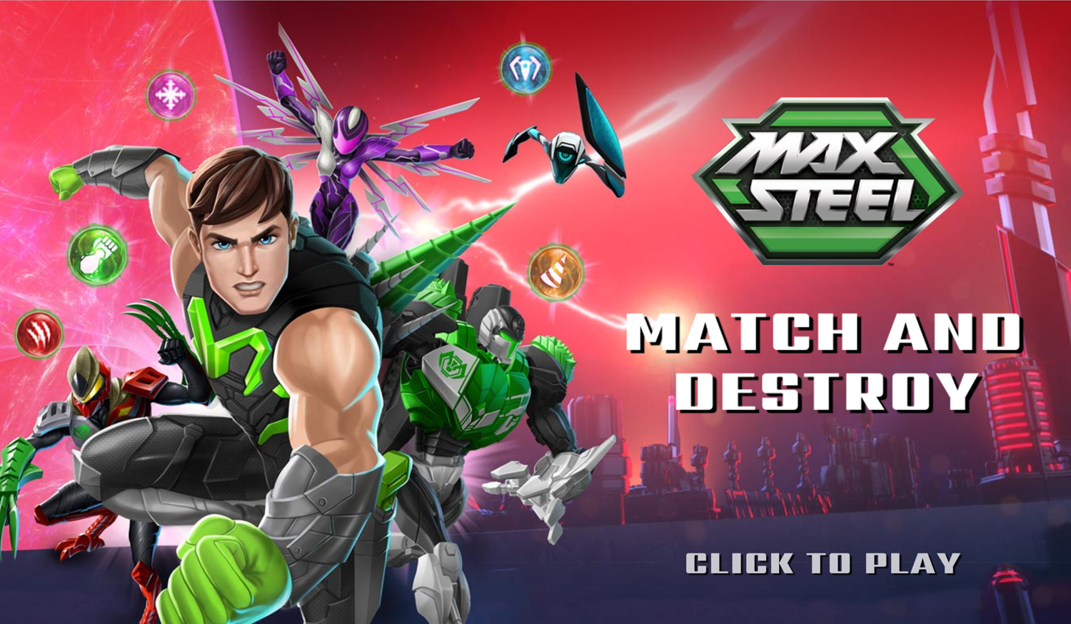 Max Steel Match and Destroy Game Welcome Screen Screenshot.