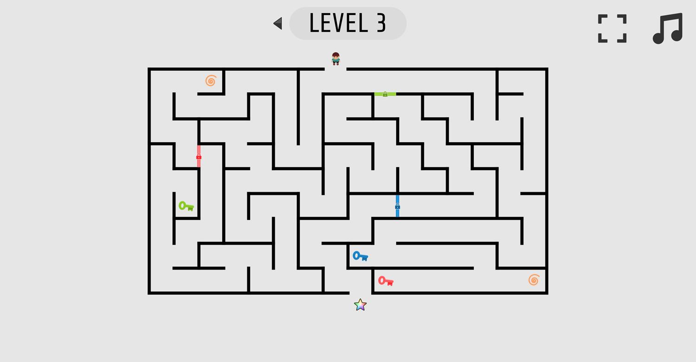 Mazes and Keys Game Screenshot.