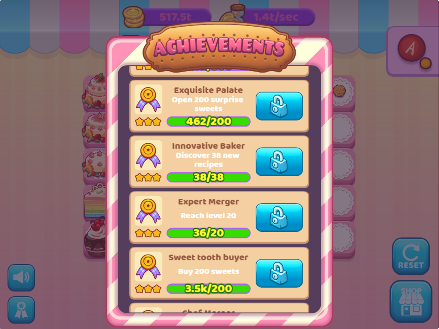 Merge Cakes Game All Achievements Complete Screenshot.