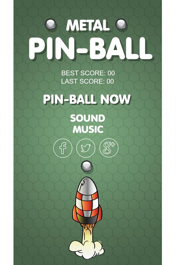 Metal Pinball Game Welcome Screen Screenshot.