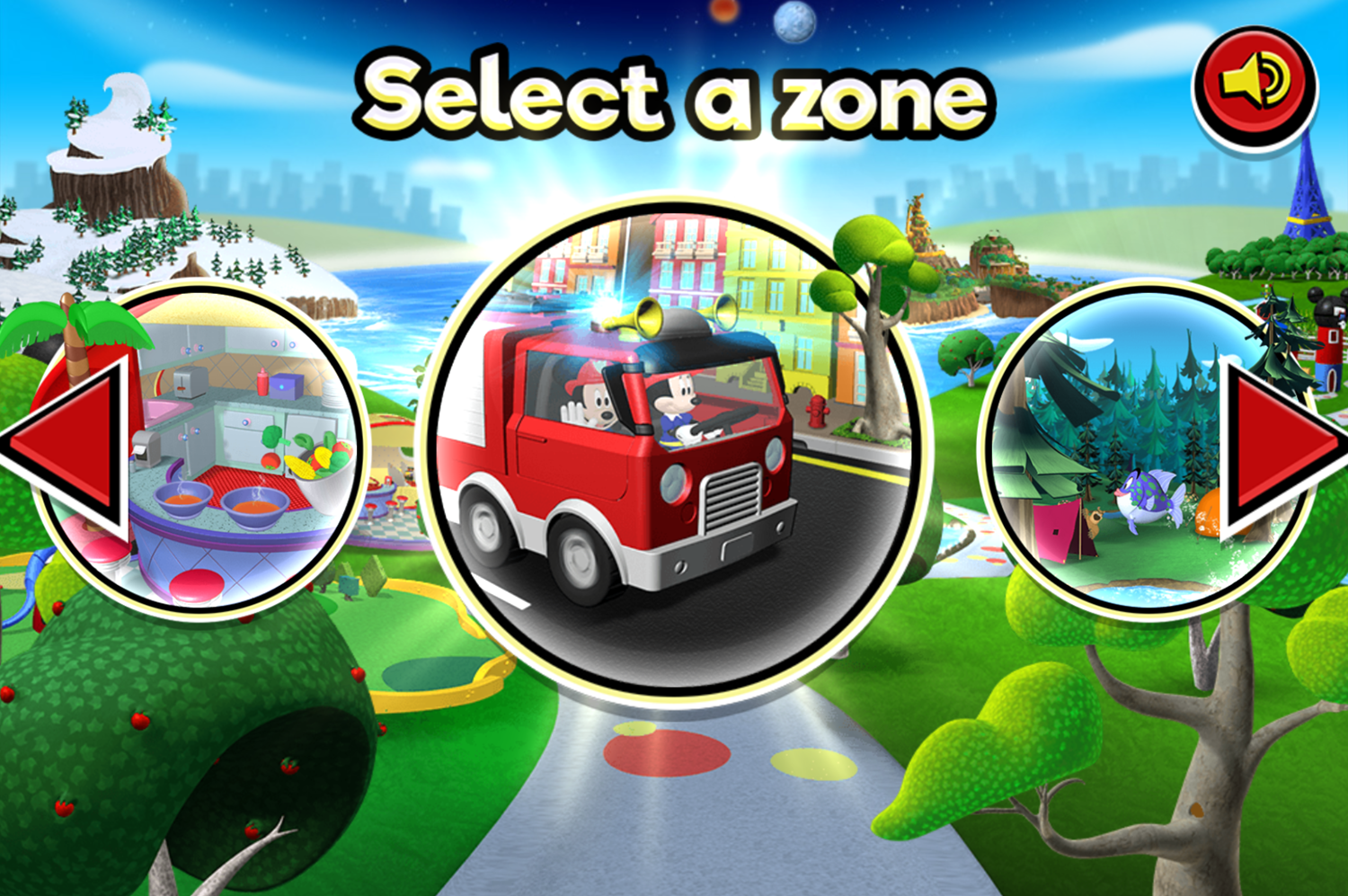 Mickey and Minnie's Universe Select a Zone Screenshot.