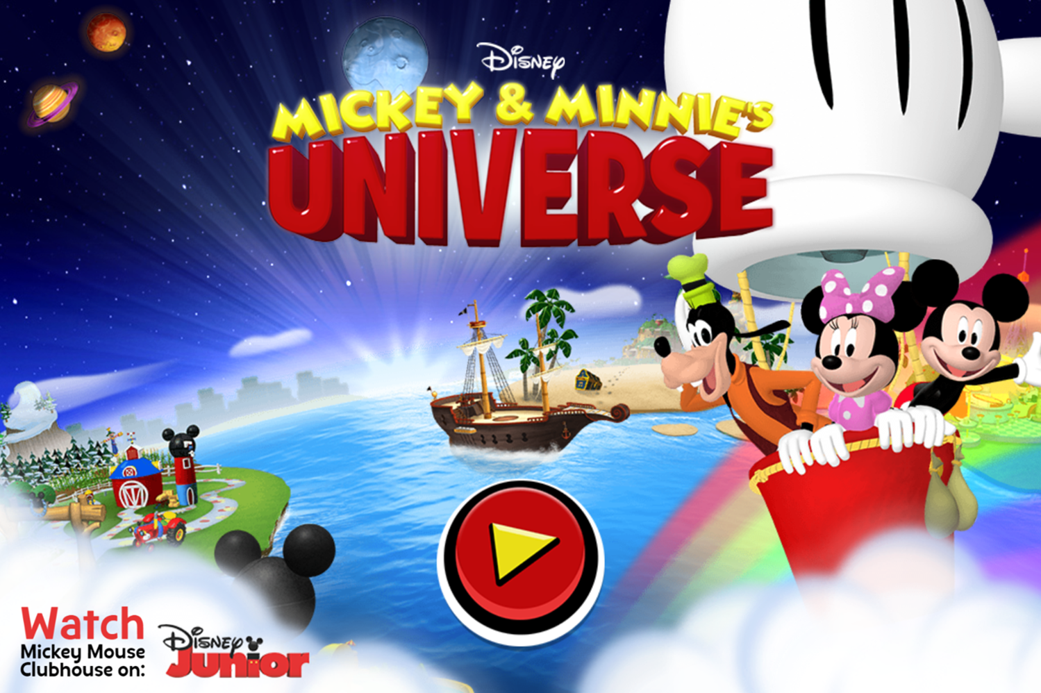 Mickey and Minnie's Universe Welcome Screen Screenshot.