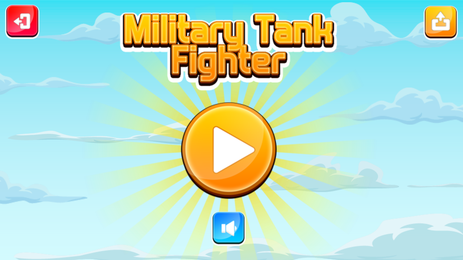 Military Tank Fighter Game Welcome Screenshot.