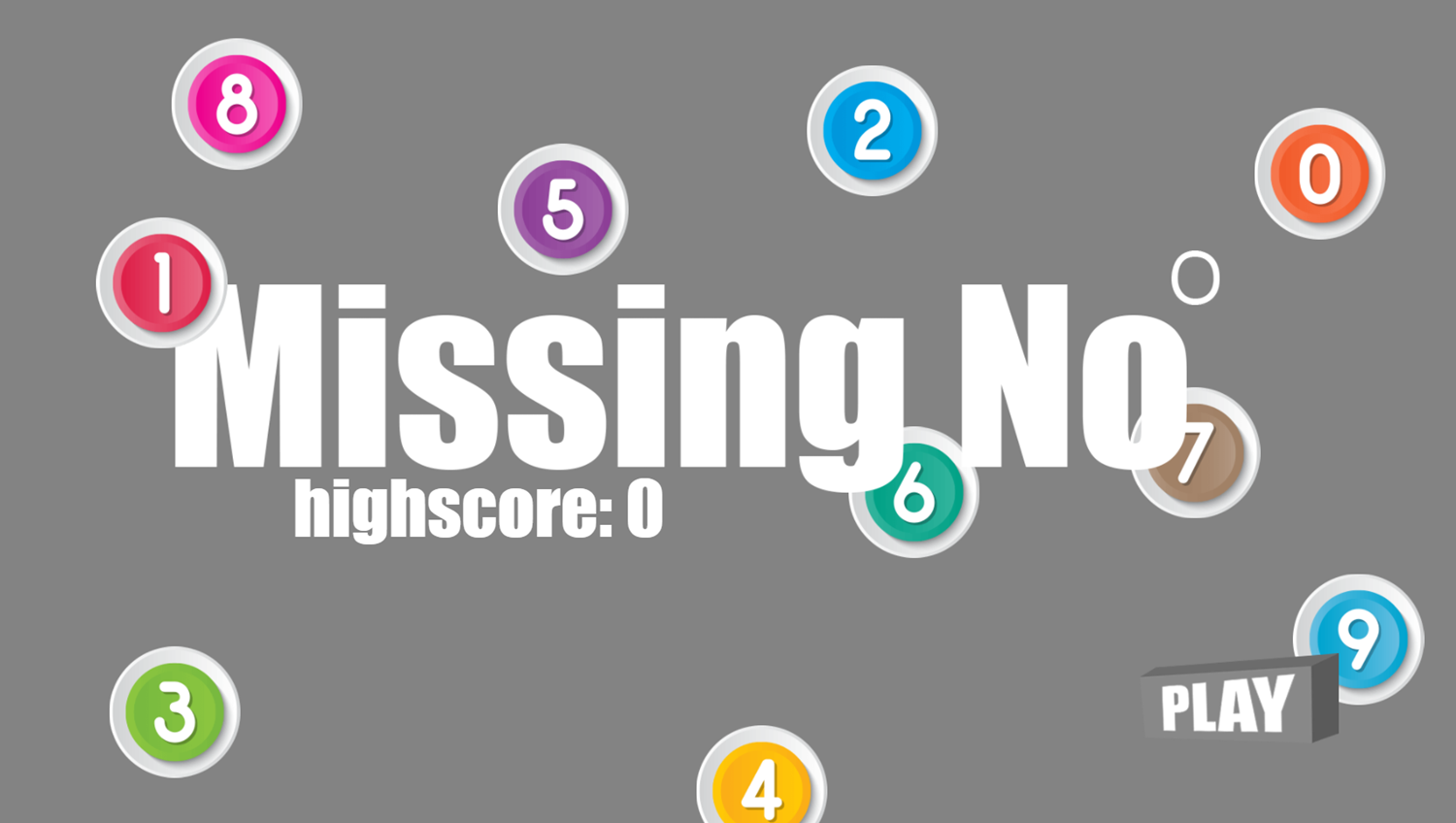 Missing Number Game Welcome Screen Screenshot.