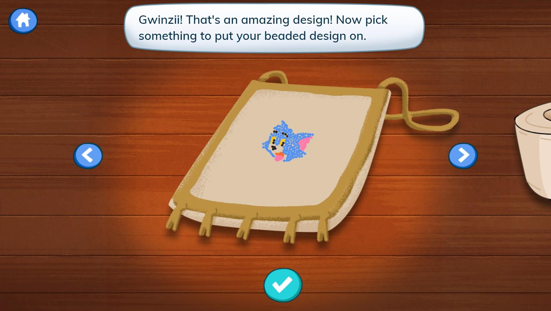 Molly of Denali Beading Art Game Place Design Screenshot.
