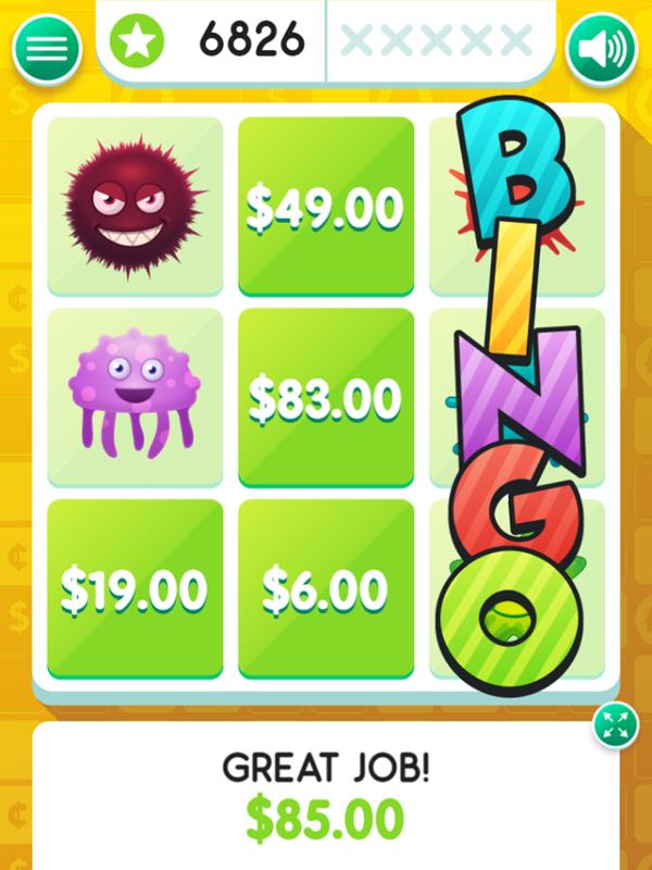Money Bingo Game Correct Pattern Screenshot.
