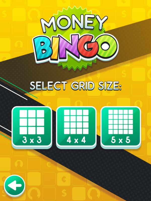 Money Bingo Game Select Grid Size Screenshot.