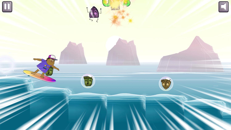 Monster Beach Surfs Up Game Screenshot.