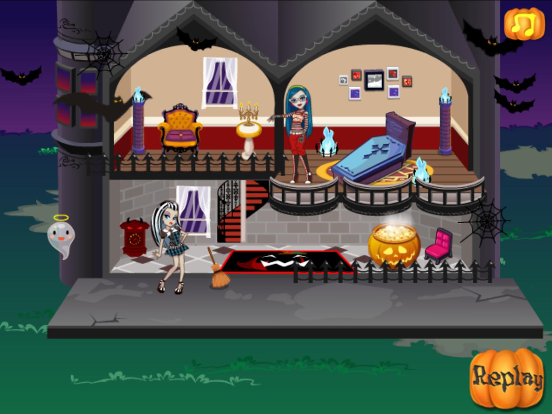 Monster High Halloween House Game Final Layout Screenshot.