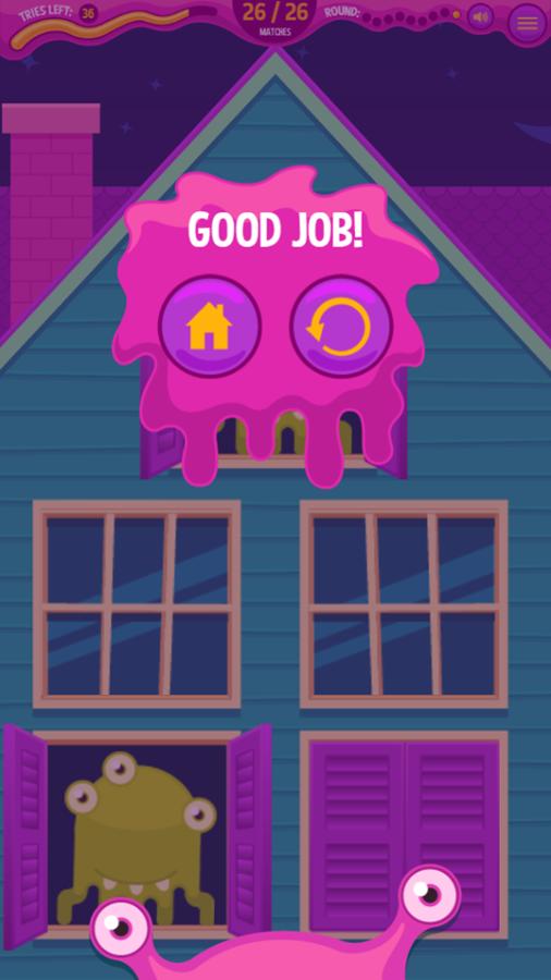 Monster Mansion Match Game Complete Screenshot.