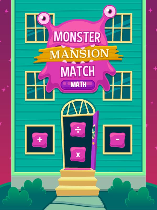 Monster Mansion Match Math Game Welcome Screen Screenshot.