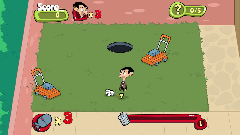 Mr. Bean Backyard Junk Game Screenshot.