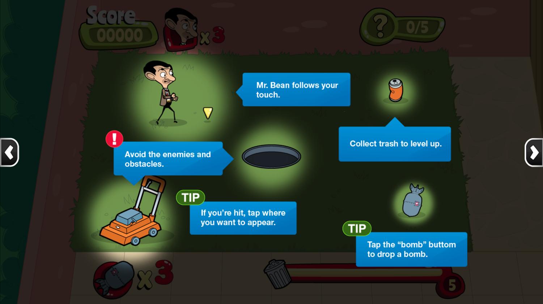 Mr. Bean Backyard Junk Game Instructions Screenshot.