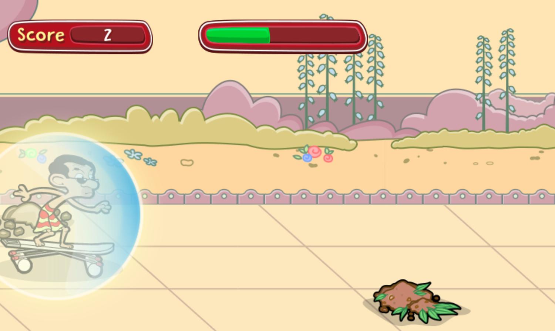 Mr. Bean's Bean Skidding Skateboarding Game Screenshot.