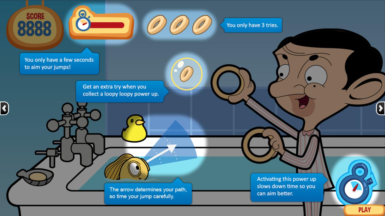 Mr. Bean Goldfish Loopy Loopy Game Instructions Screenshot.