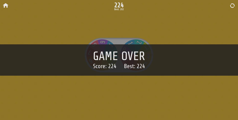 Multiplication Roulette Game Over Screenshot.
