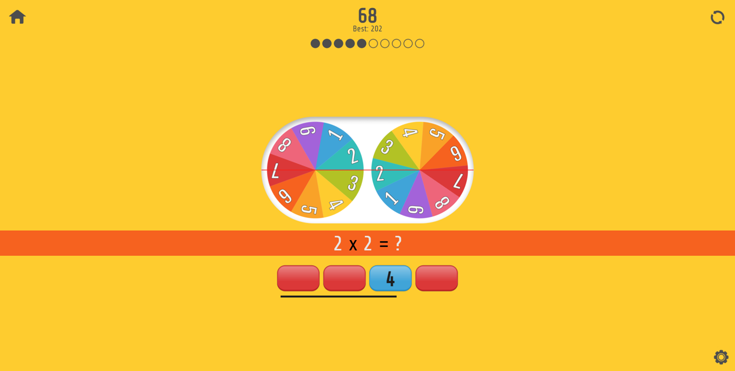 Multiplication Roulette Wrong Answers Screenshot.