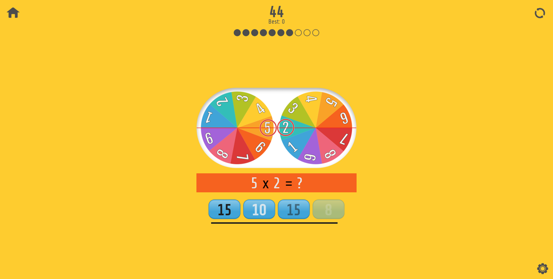 Multiplication Roulette Game Screenshot.