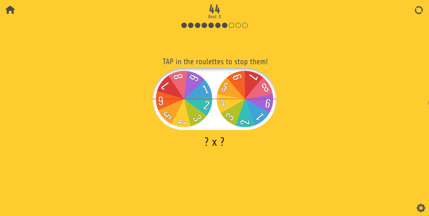 Multiplication Roulette Tap the Roullettes Screenshot.