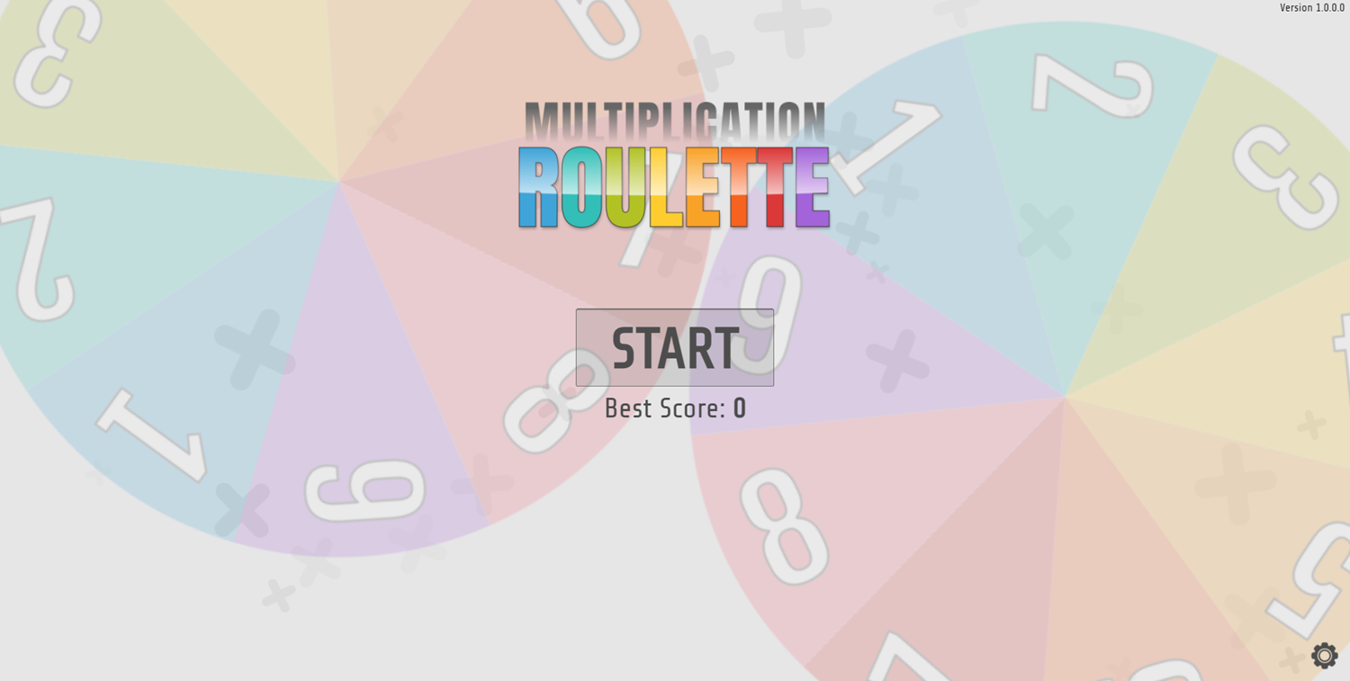 Multiplication Roulette Welcome Screen Screenshot.