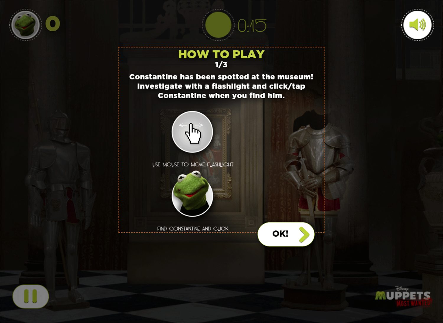 Muppets Most Wanted Catch Constantine Game How To Play Screenshot.