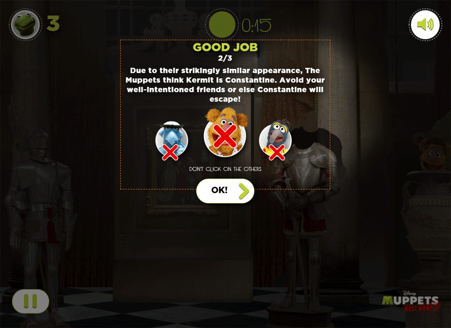 Muppets Most Wanted Catch Constantine Game Instructions Screenshot.