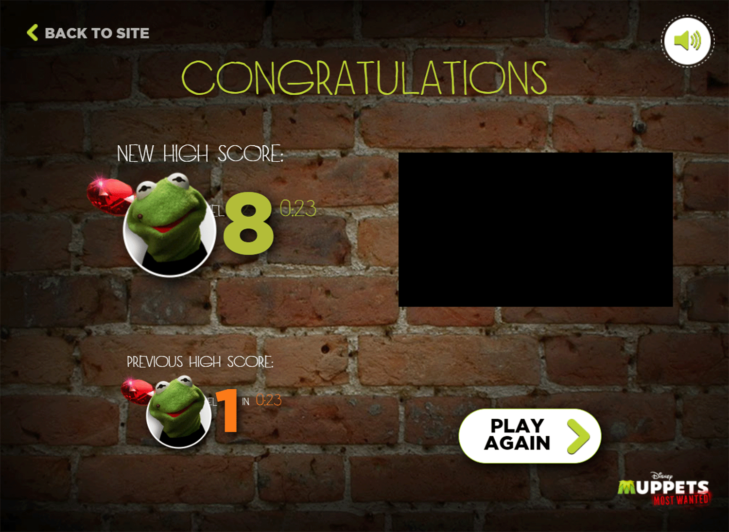 Muppets Most Wanted Catch Constantine Game Result Screenshot.
