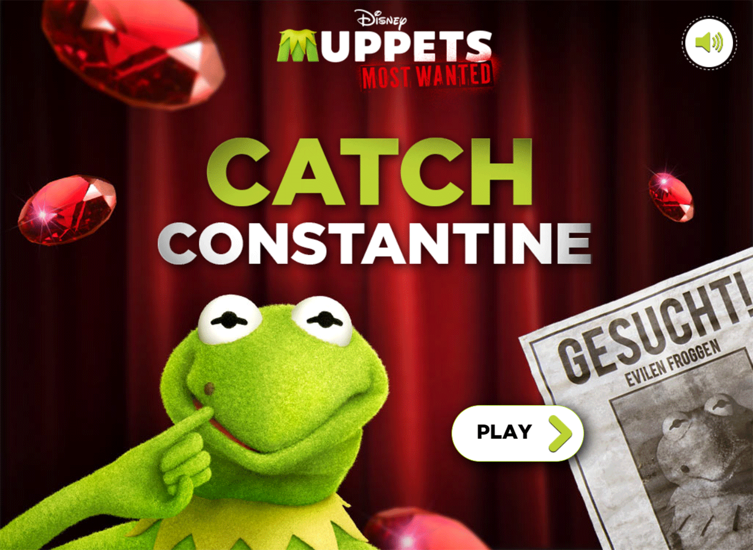 Muppets Most Wanted Catch Constantine Game Welcome Screen Screenshot.