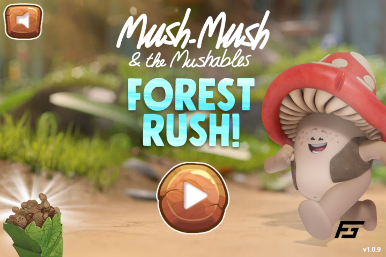 Mush Mush and the Mushables Forest Rush Game Welcome Screen Screenshot.