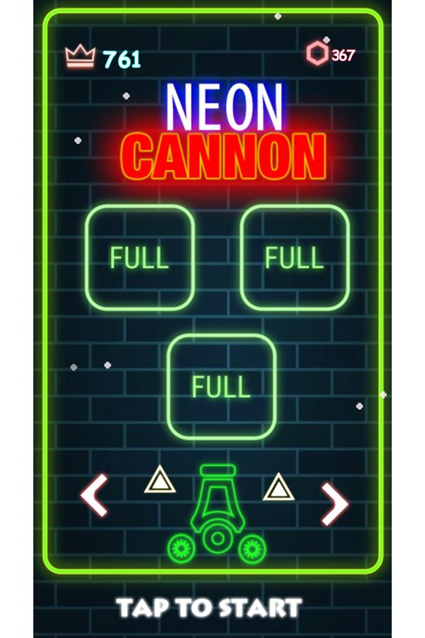 Neon Cannon Full Upgrades Screen Screenshot.