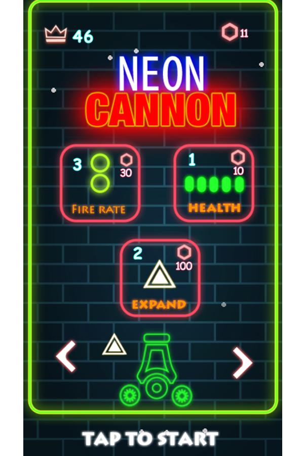 Neon Cannon Welcome Screen Screenshot.