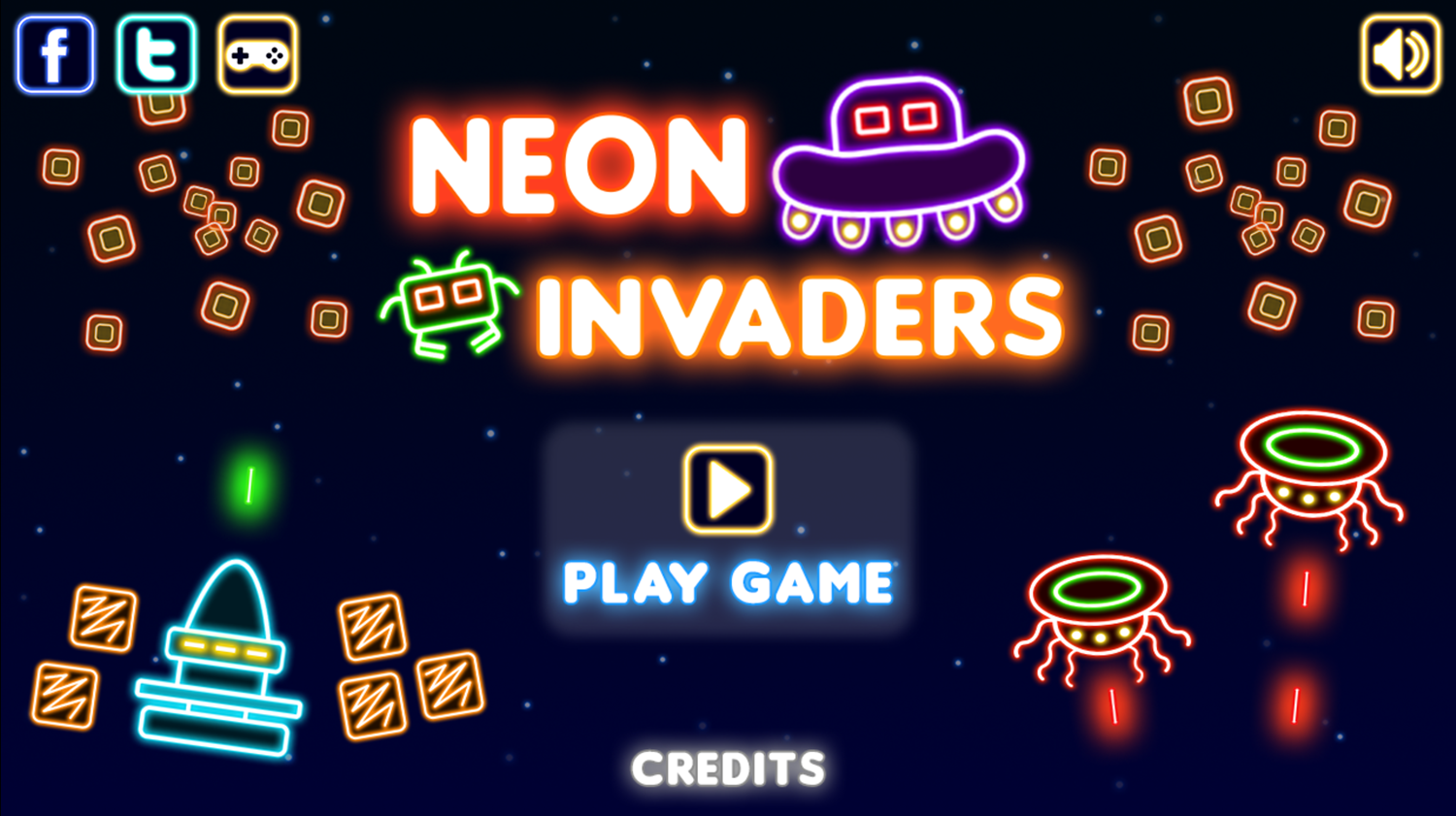 Neon Invaders Game Welcome Screenshot.
