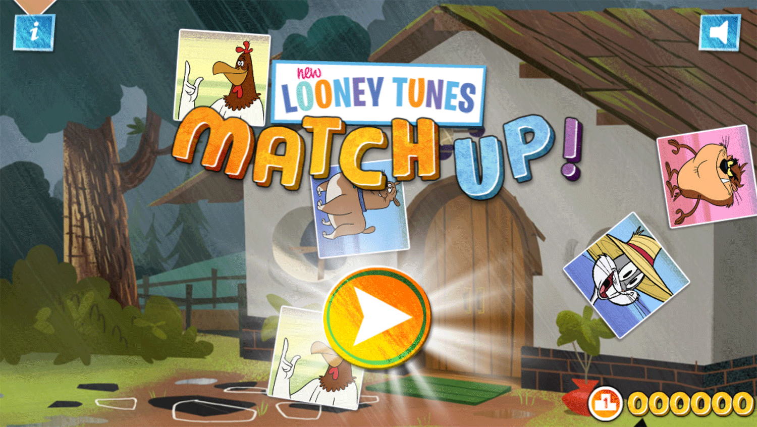 New Looney Tunes Match Up Game Welcome Screen Screenshot.