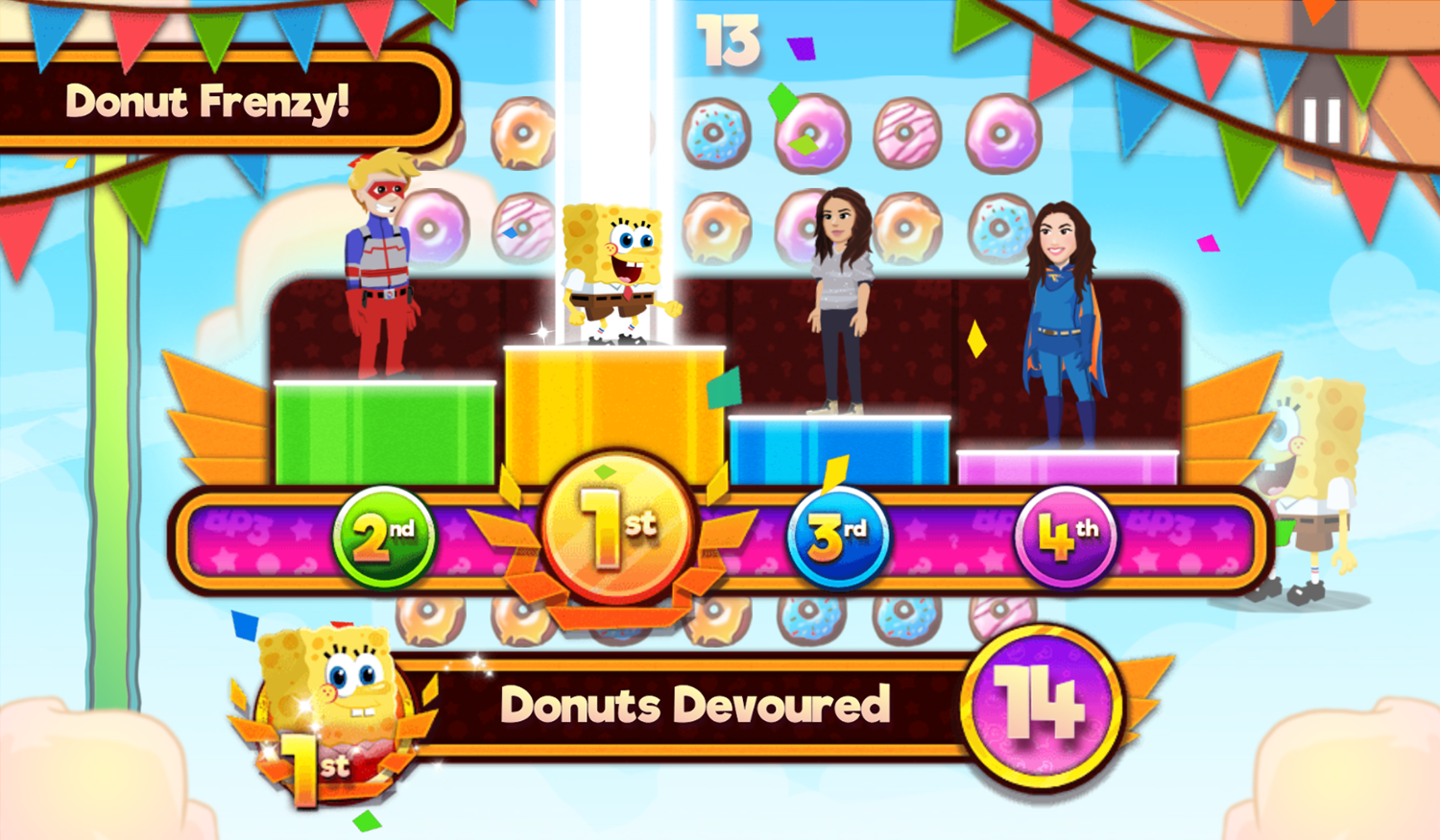 Nick Block Party 3 Game Mini Game Donut Frenzy Results Screenshot.