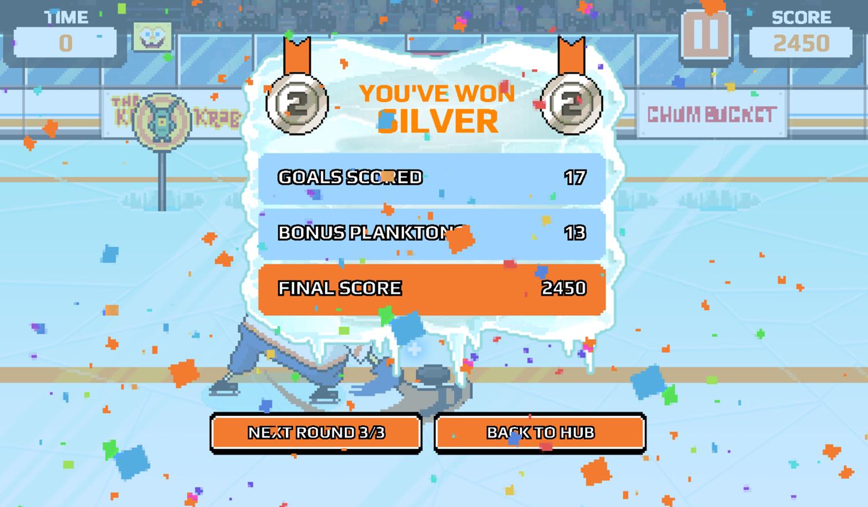 Nick Champions of the Chill 2 Game Bikini Bottom Shootout Score Screenshot.
