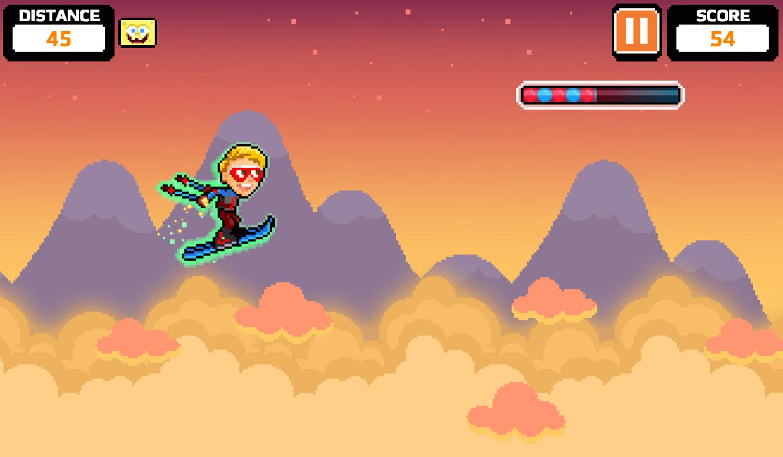 Nick Champions of the Chill 2 Game Light Speed Skiing Gameplay Screenshot.