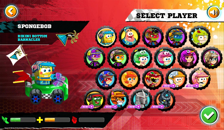 Nick Racing Stars Select Player Screenshot.