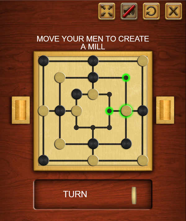 Nine Men's Morris Game Screenshot.
