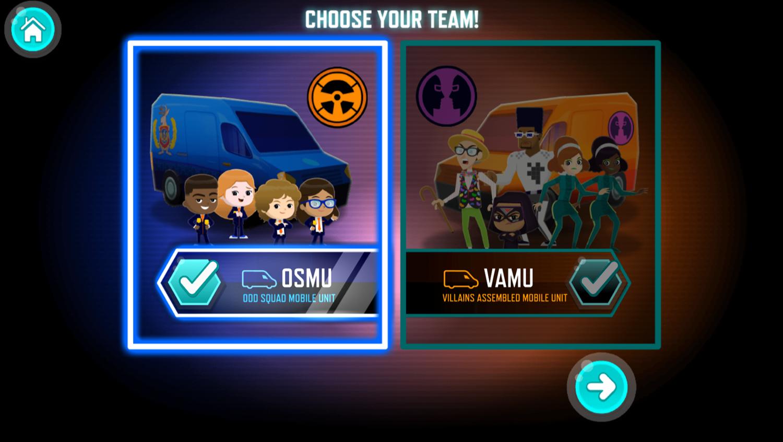 Odd Squad Artifact Adventure Game Choose Team Screenshot.
