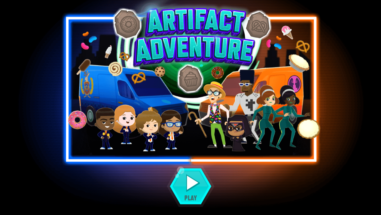 Odd Squad Artifact Adventure Game Welcome Screen Screenshot.