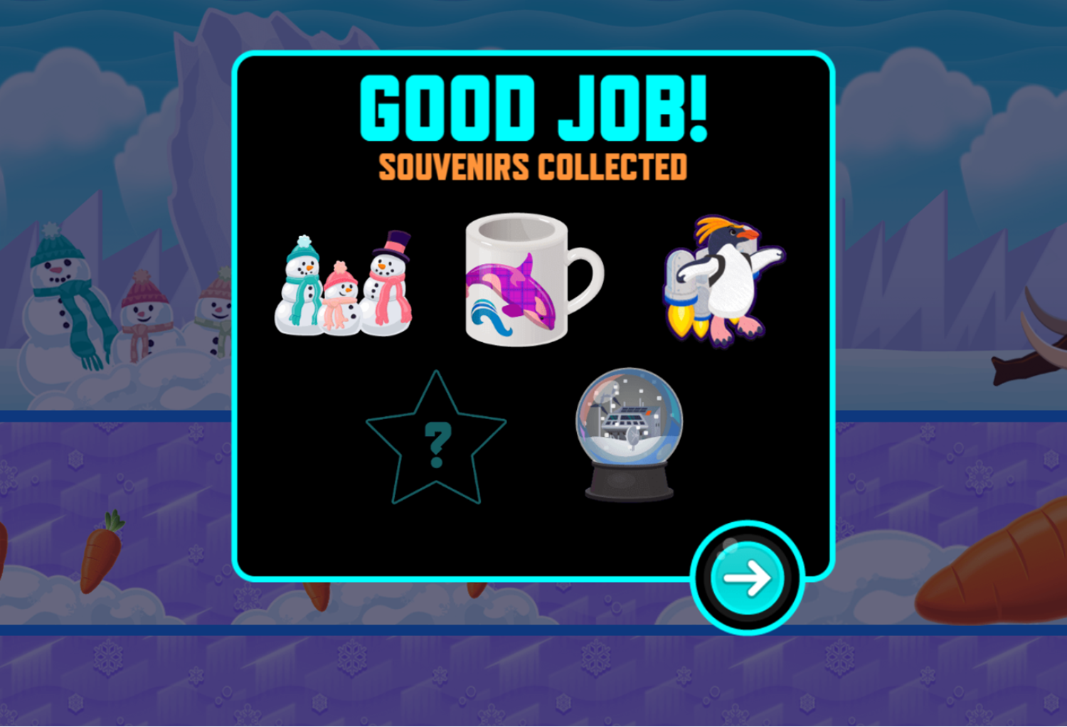 Odd Squad Oddstacle Course Game Level Complete Screenshot.