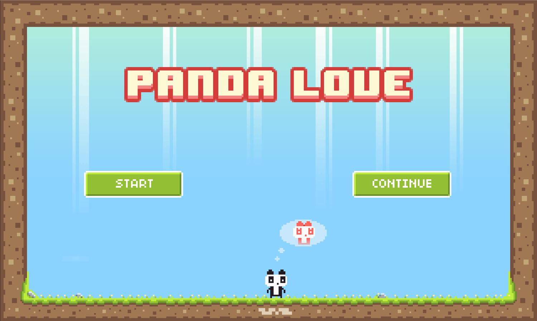 Panda Love Welcome Screen Screenshot.
